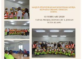 13 FEB 2020 Majlis Penyerahan Kontrak Kerja Kepada Orang Diselia (ODS)